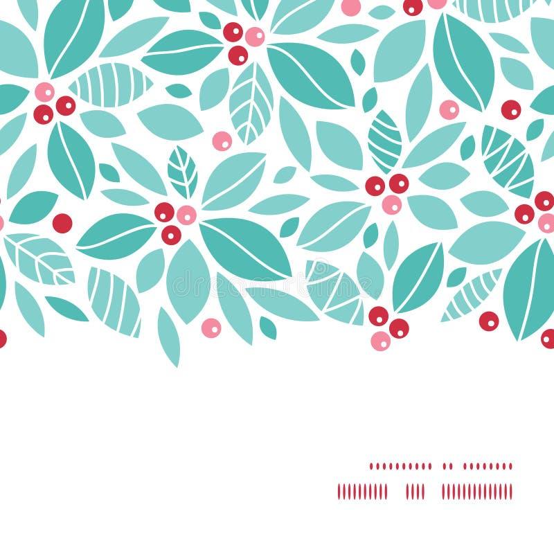 传染媒介圣诞节霍莉莓果水平的框架 向量例证