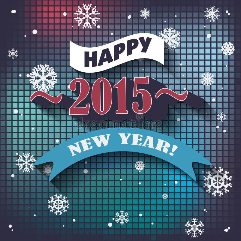 传染媒介2015年在印刷术样式的新年快乐背景 库存例证