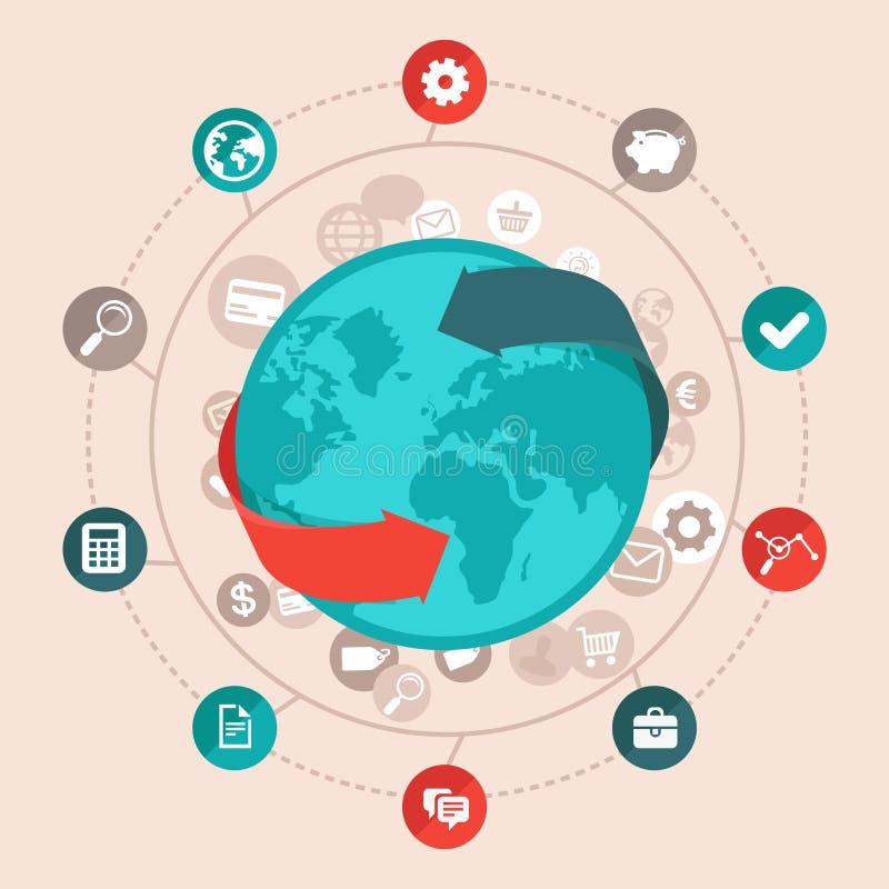 传染媒介在平的样式的全球企业概念 库存例证