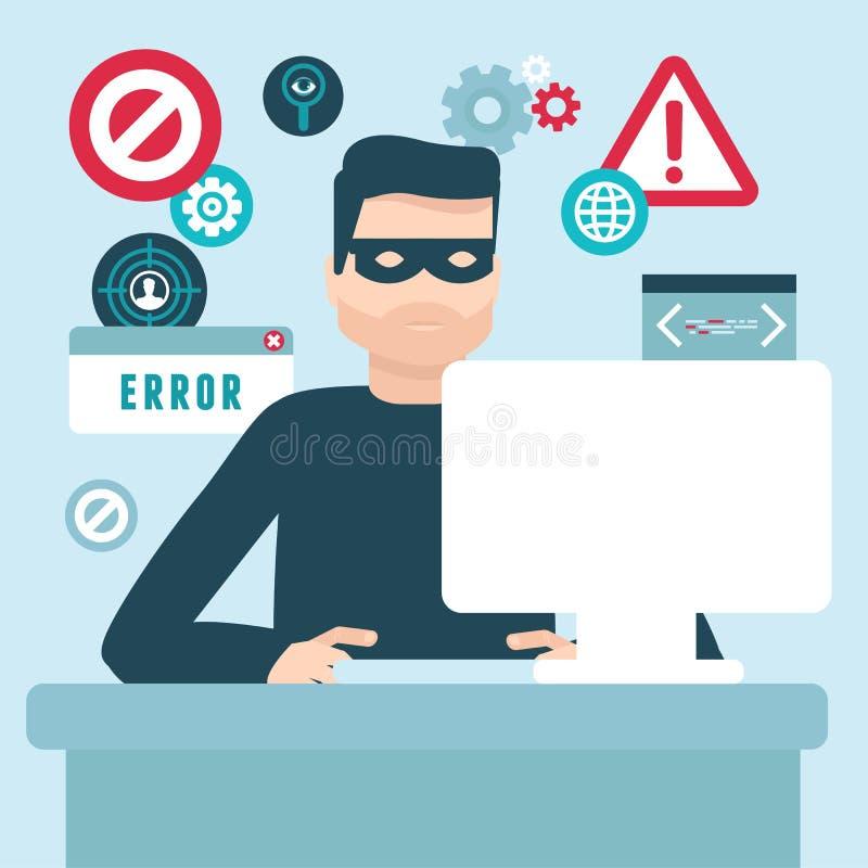 传染媒介在平的样式的黑客例证 库存例证