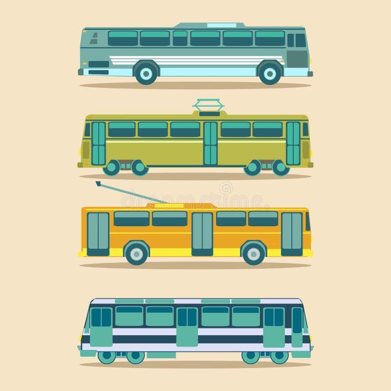 传染媒介在平的样式设置的城市运输 都市车infographics 不同的市政电车,无轨电车等象 向量例证