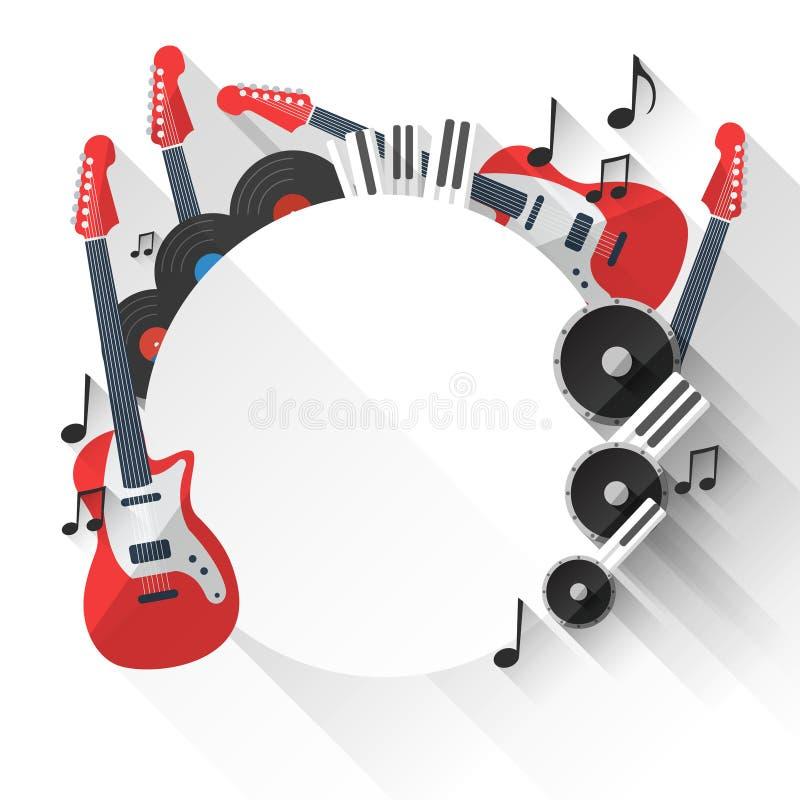 传染媒介在平的样式设计的音乐背景 向量例证