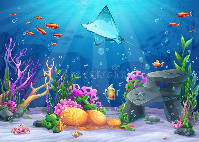 传染媒介在海中动画片例证 向量例证