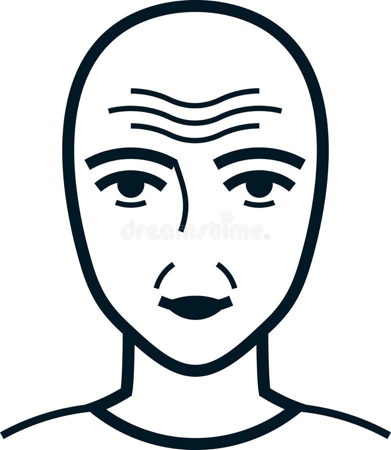 传染媒介在白色的起皱纹的面孔例证 皇族释放例证