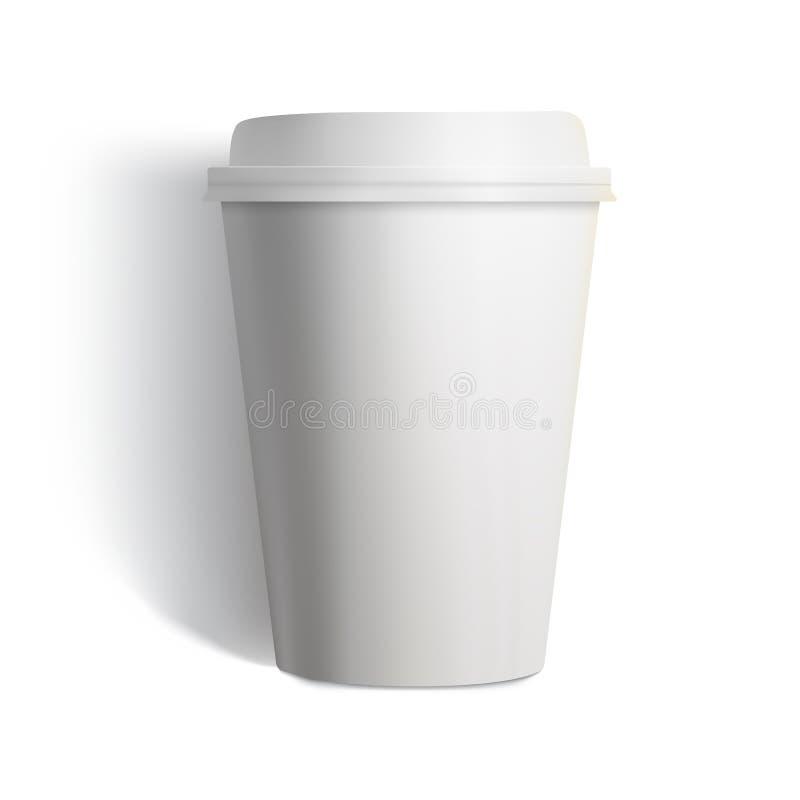 在白色背景的照片拟真的白色杯子例证.