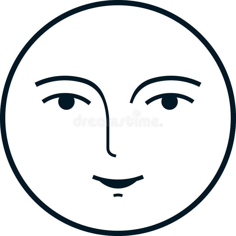 传染媒介在白色背景隔绝的满月脸 向量例证