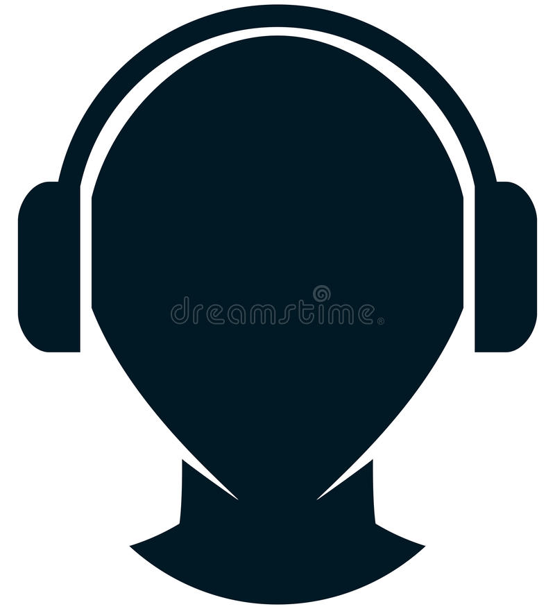 传染媒介在白色隔绝的耳机例证 向量例证
