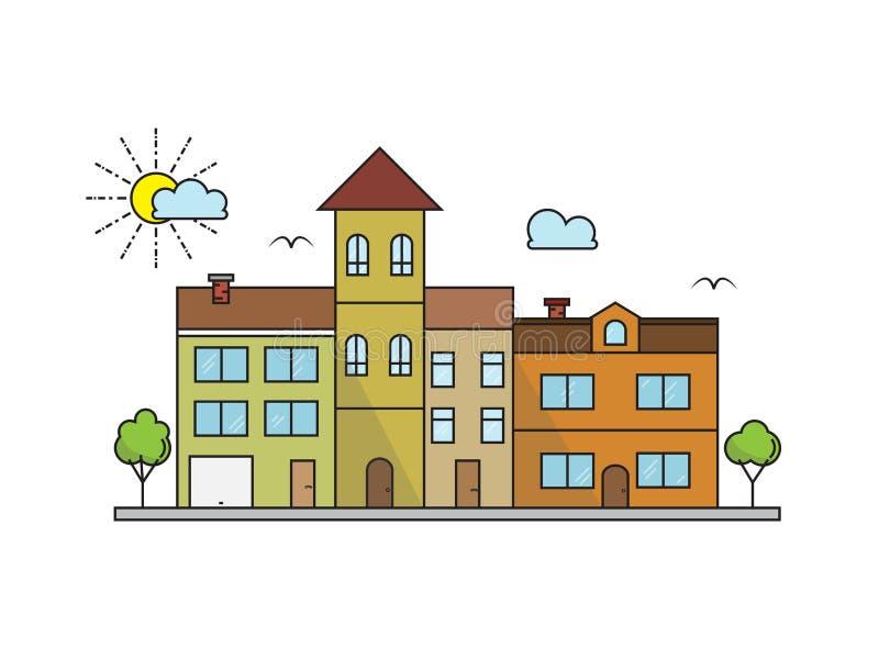 传染媒介在线性样式大厦的城市风景设计 皇族释放例证