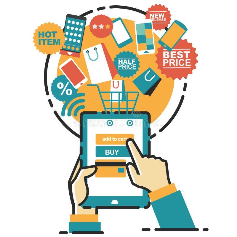 传染媒介在线的商店例证概念 数字式营销 移动付款 皇族释放例证