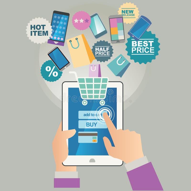 传染媒介在线的商店例证概念 数字式营销 采购线路 移动付款 向量例证