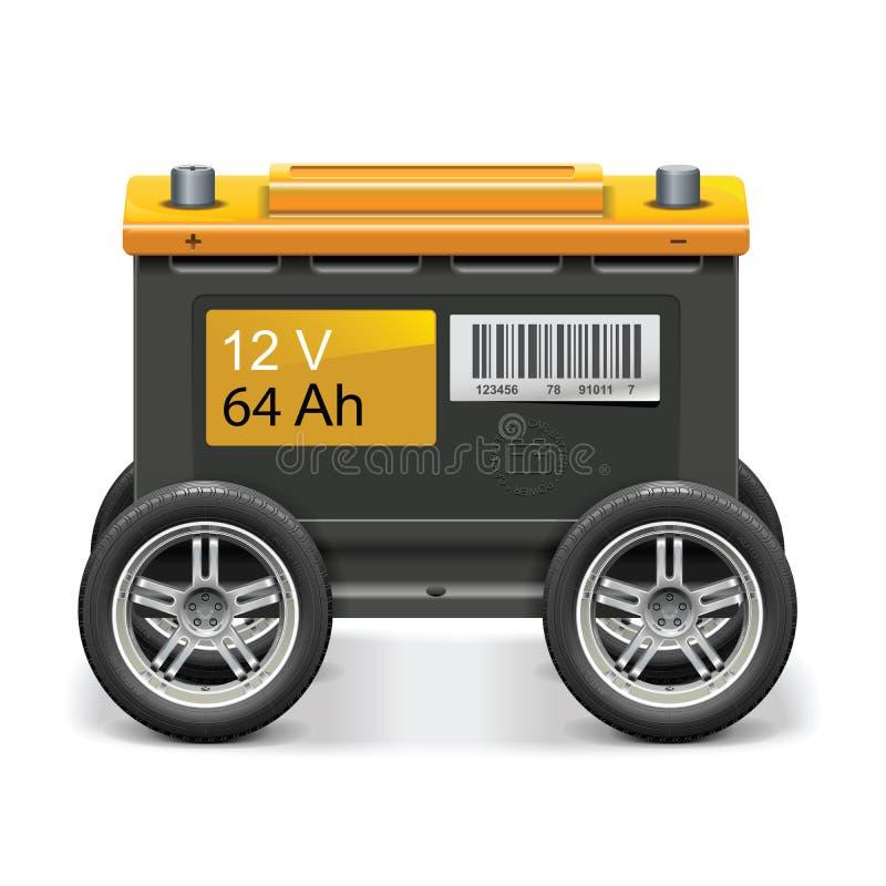 传染媒介在轮子力量的汽车电池 免版税库存照片
