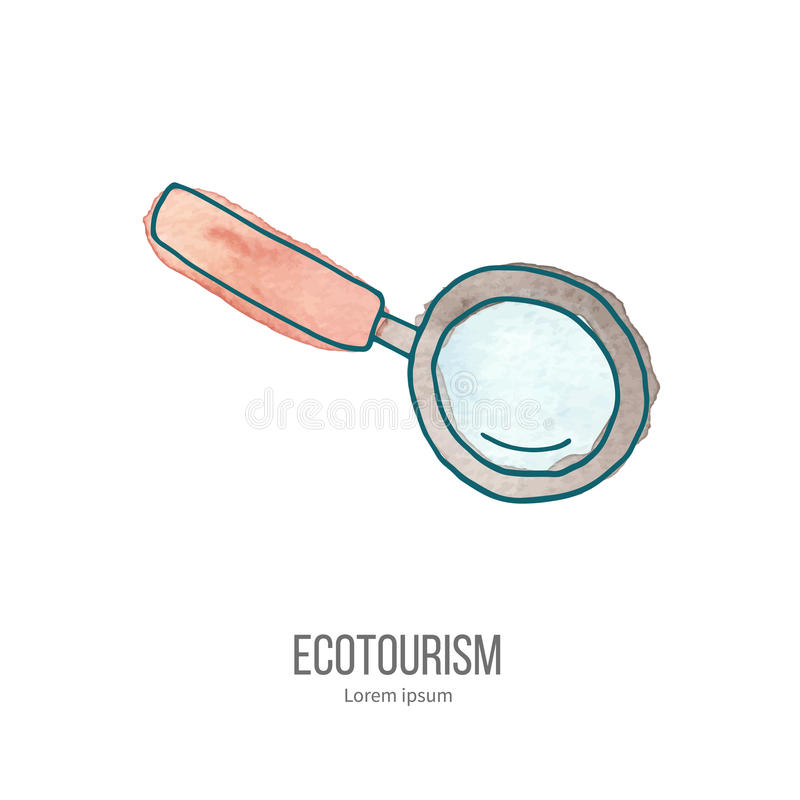 传染媒介在水彩纹理的生态旅游乱画 向量例证
