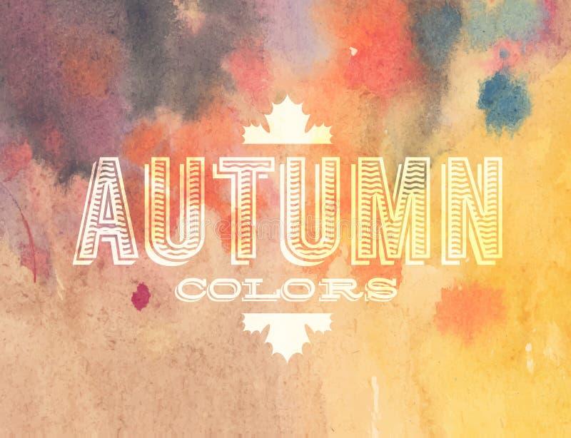 传染媒介在水彩背景的秋天标签 皇族释放例证