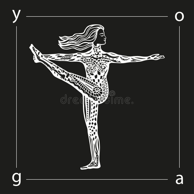 传染媒介在zentangle样式的瑜伽例证 女孩姿势瑜伽 库存例证