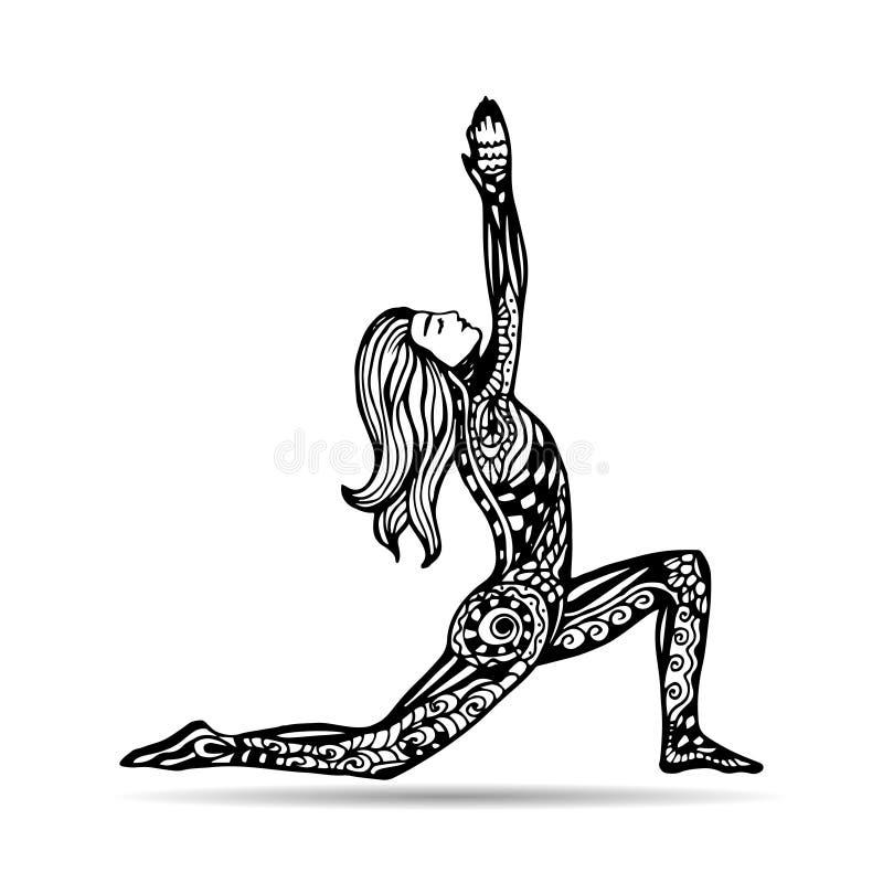 传染媒介在zentangle样式的瑜伽例证 女孩姿势瑜伽 向量例证