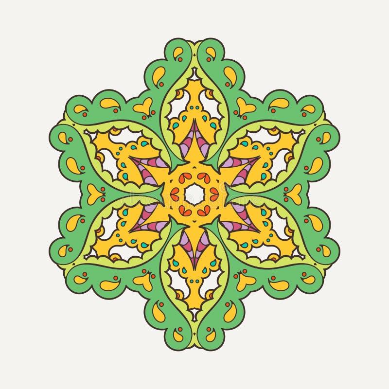 传染媒介坛场 Mehndi鞋带纹身花刺 与锋利的角落的东方织法 皇族释放例证
