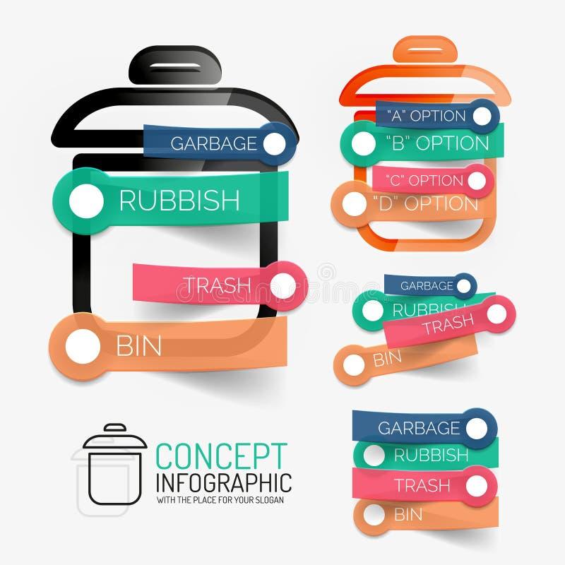 传染媒介垃圾容器infographic与贴纸 皇族释放例证