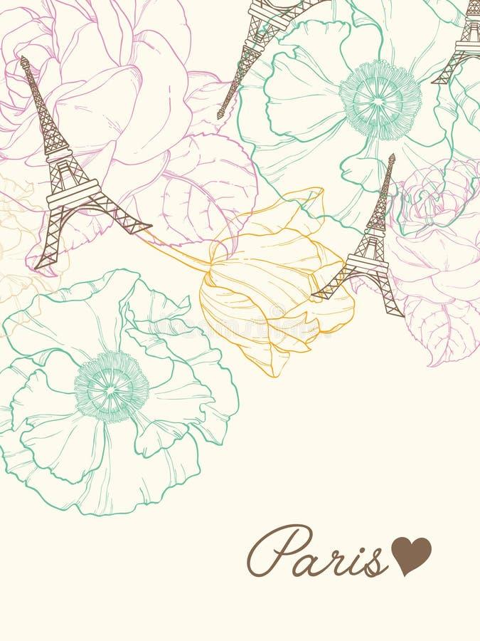 传染媒介埃菲尔山塔巴黎在葡萄酒样式的贺卡与美丽,浪漫淡色花 为旅行完善 皇族释放例证
