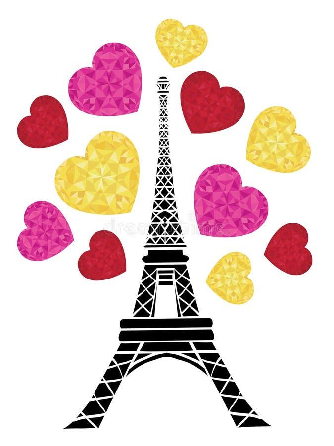 传染媒介埃菲尔山塔破裂与爱的St情人节桃红色红色金黄心脏的巴黎 为主题的旅行完善 库存例证