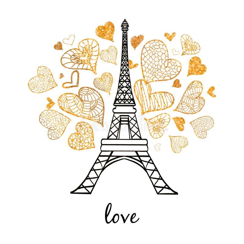 传染媒介埃菲尔山塔破裂与爱的St情人节金黄心脏的巴黎 为旅行主题的明信片完善 库存例证