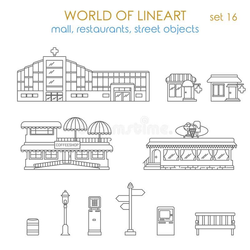 传染媒介城市图解大厦:商店,药房, ATM终端 向量例证