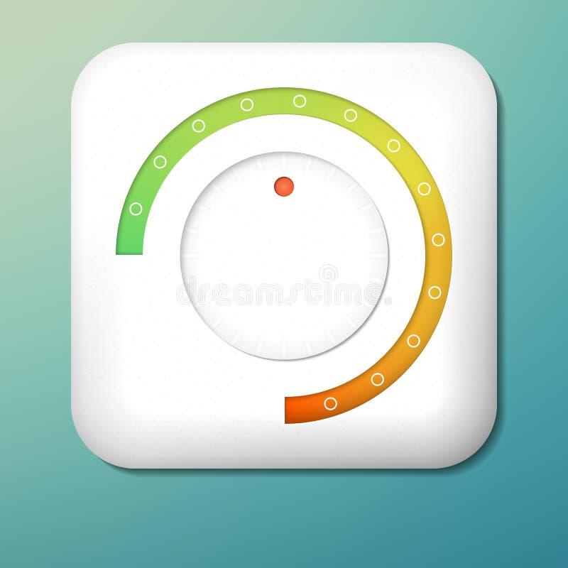 传染媒介塑料容量按钮 对橙色标度的绿色 控制旋钮 调整象 库存例证