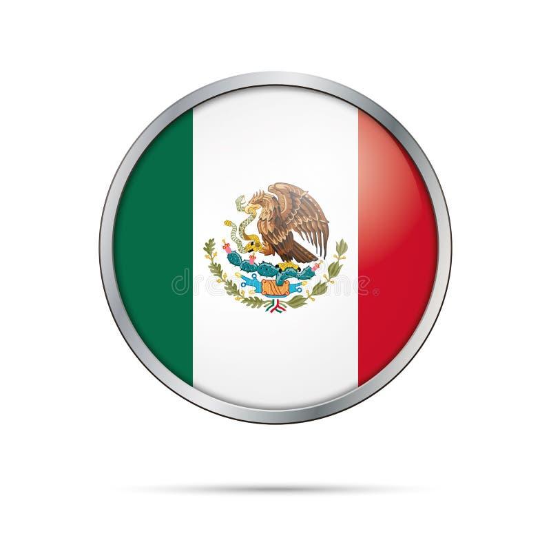 传染媒介墨西哥国旗按钮 在玻璃按钮样式的墨西哥旗子 皇族释放例证