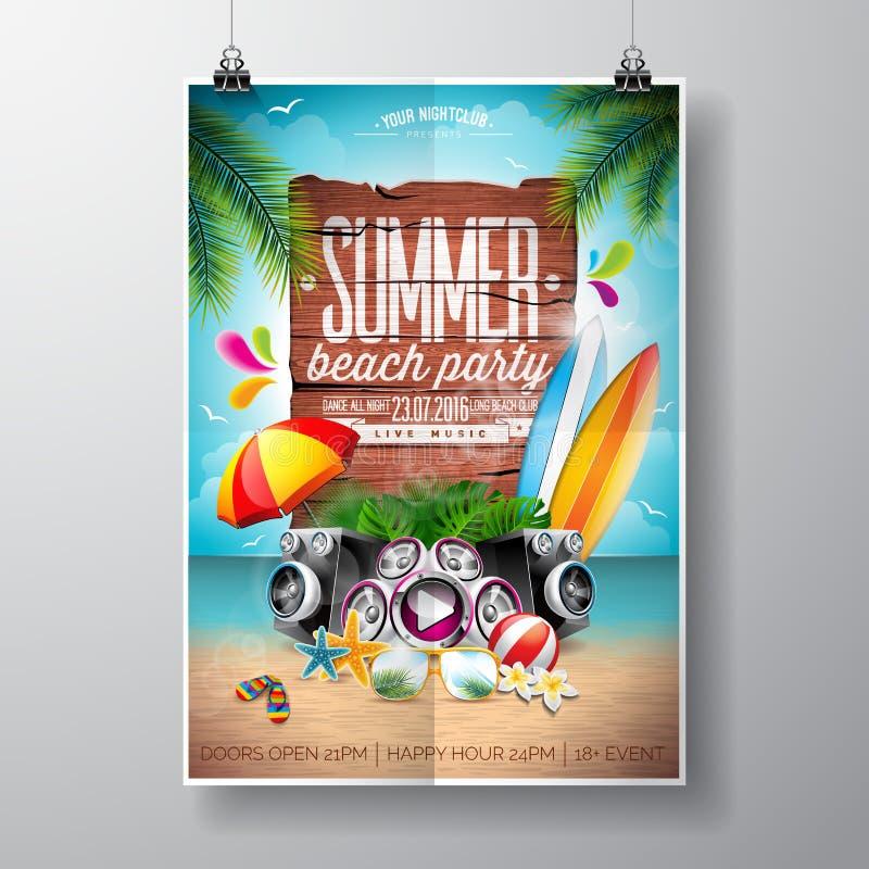 传染媒介夏天海滩党与印刷元素的飞行物设计在木纹理背景 夏天自然花卉元素,海浪, 皇族释放例证