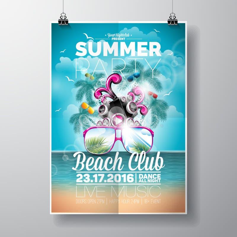传染媒介夏天海滩党与印刷和音乐元素的飞行物设计在海洋风景背景 向量例证