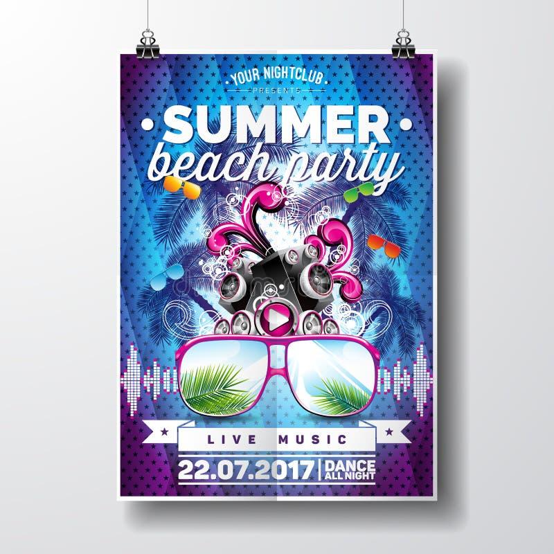 传染媒介夏天海滩党与印刷和音乐元素的飞行物设计在蓝色棕榈背景 报告人和太阳镜 向量例证