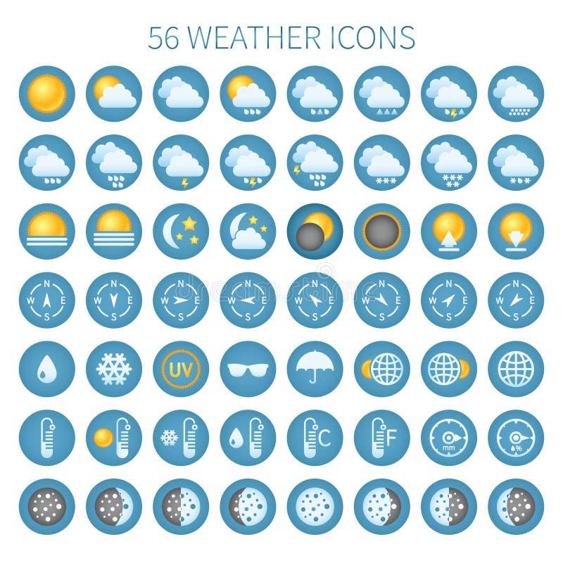 传染媒介天气象为装饰物和站点设置了 库存例证