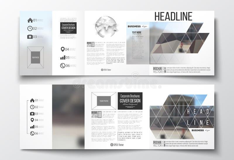 传染媒介套三部合成的小册子,方形的设计模板 多角形背景,被弄脏的图象,都市风景,现代 向量例证