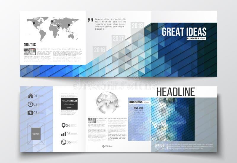 传染媒介套三部合成的小册子,方形的设计模板 抽象五颜六色的多角形背景,现代时髦 向量例证