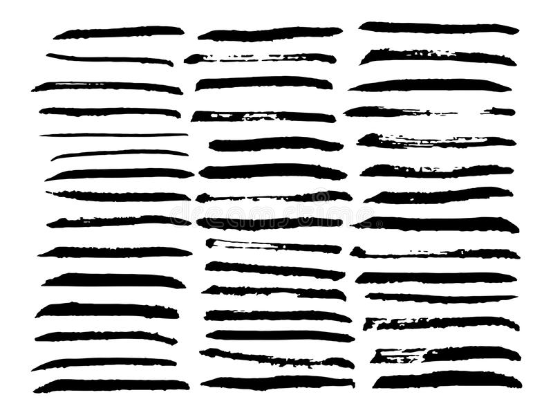 传染媒介套不同的刷子冲程 黑油漆刷线 库存例证