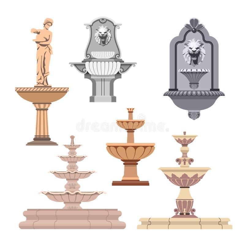 传染媒介套不同的喷泉 设计要素图标 库存例证