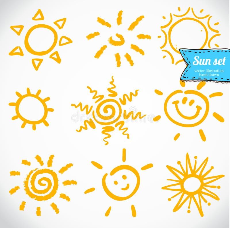 传染媒介套不同的太阳,手拉的例证 库存例证