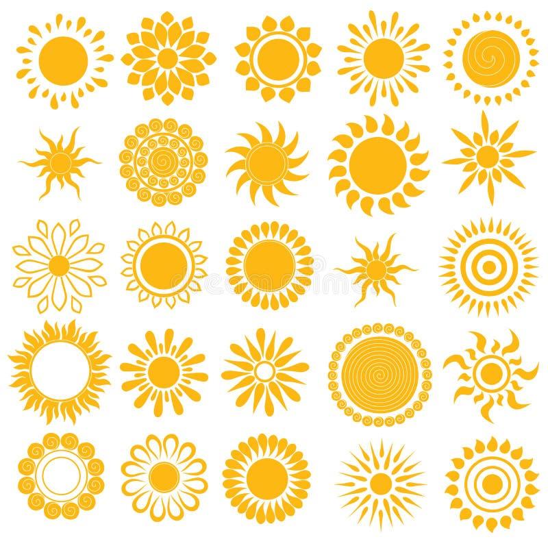 传染媒介套不同的手拉的太阳 库存例证