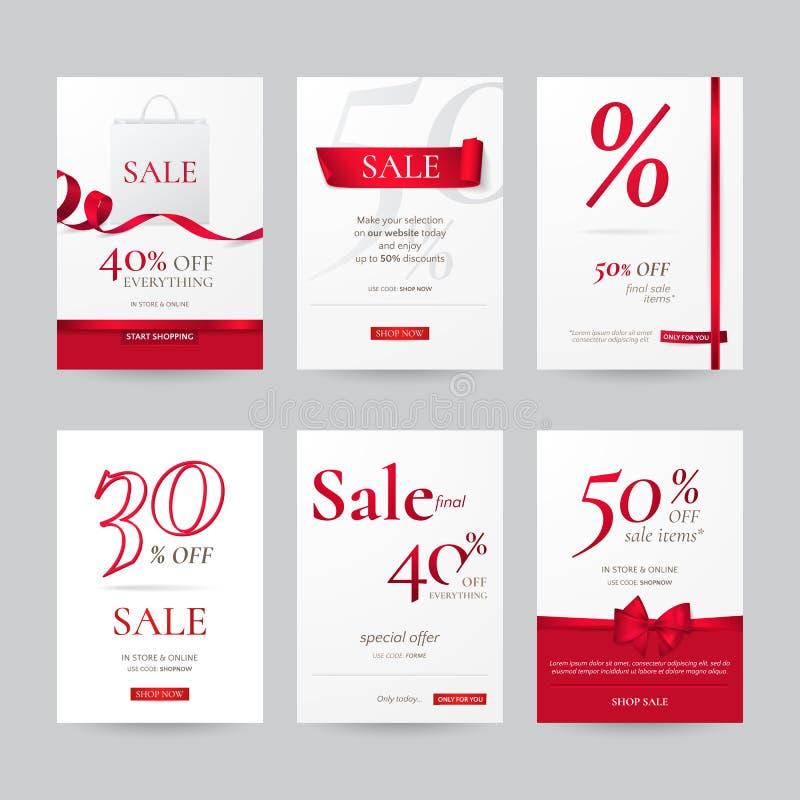 传染媒介套与红色弓、丝带和纸购物袋的时髦的销售横幅 皇族释放例证