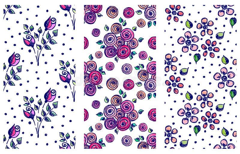 传染媒介套与花,叶子,装饰元素,飞溅,污点的无缝的花卉样式,投下手拉的等高线和 库存例证