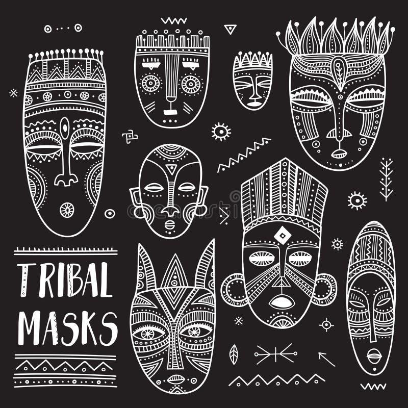 传染媒介套与boho装饰品的非洲种族部族面具. 土产, 抽象.