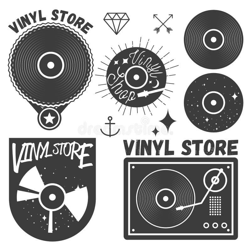 传染媒介套乙烯基圆盘和球员 音乐纪录商店略写法,设计元素 库存例证