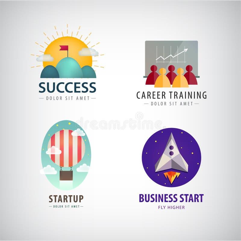 传染媒介套事务开始商标,事业训练,公司,成功 皇族释放例证