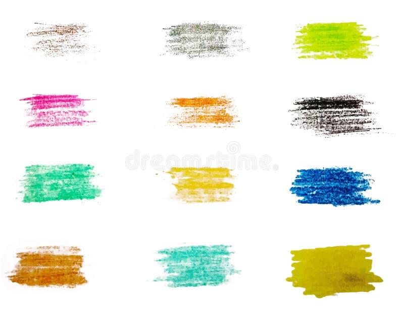 传染媒介套五颜六色的刷子冲程 向量例证