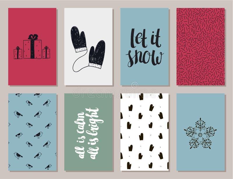 传染媒介套五颜六色的圣诞节,新年卡片 向量例证