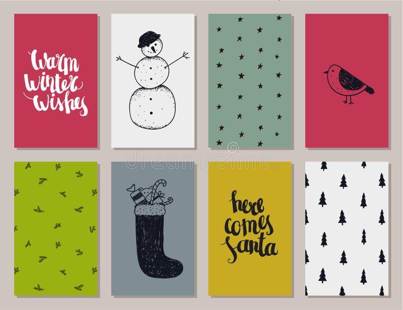 传染媒介套五颜六色的圣诞节,新年卡片 库存例证