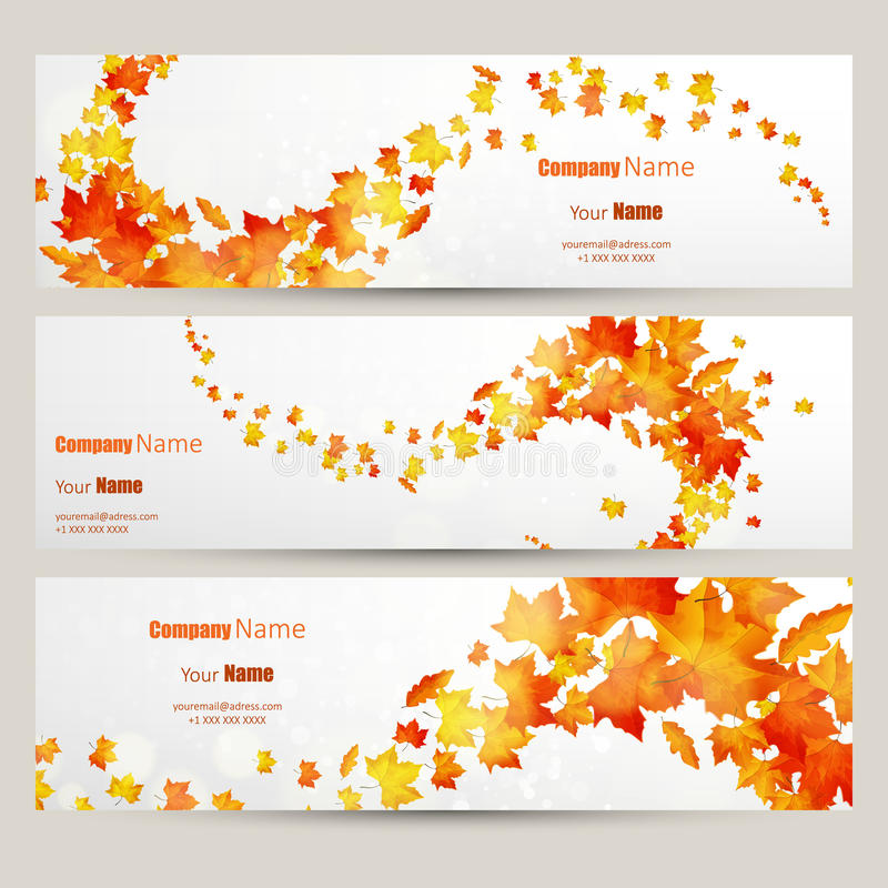 传染媒介套五颜六色的秋叶横幅例证 库存例证