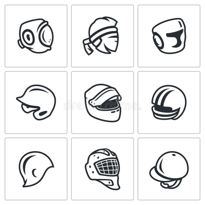 传染媒介套体育帽子,盖帽和头饰带象 工藤,泰拳,装箱,棒球,赛跑的马达,橄榄球 向量例证