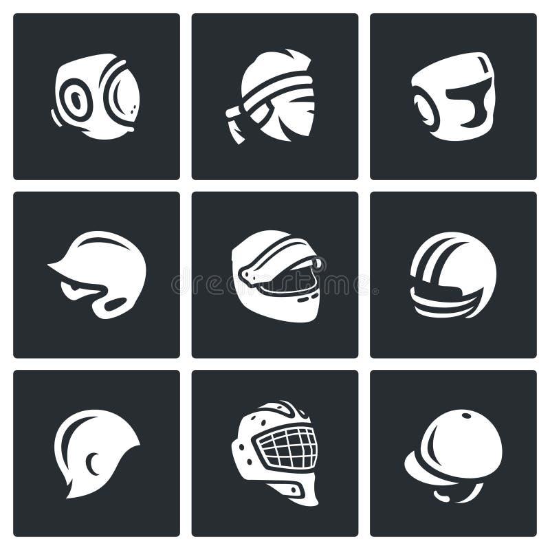 传染媒介套体育帽子,盖帽和头饰带象 向量例证