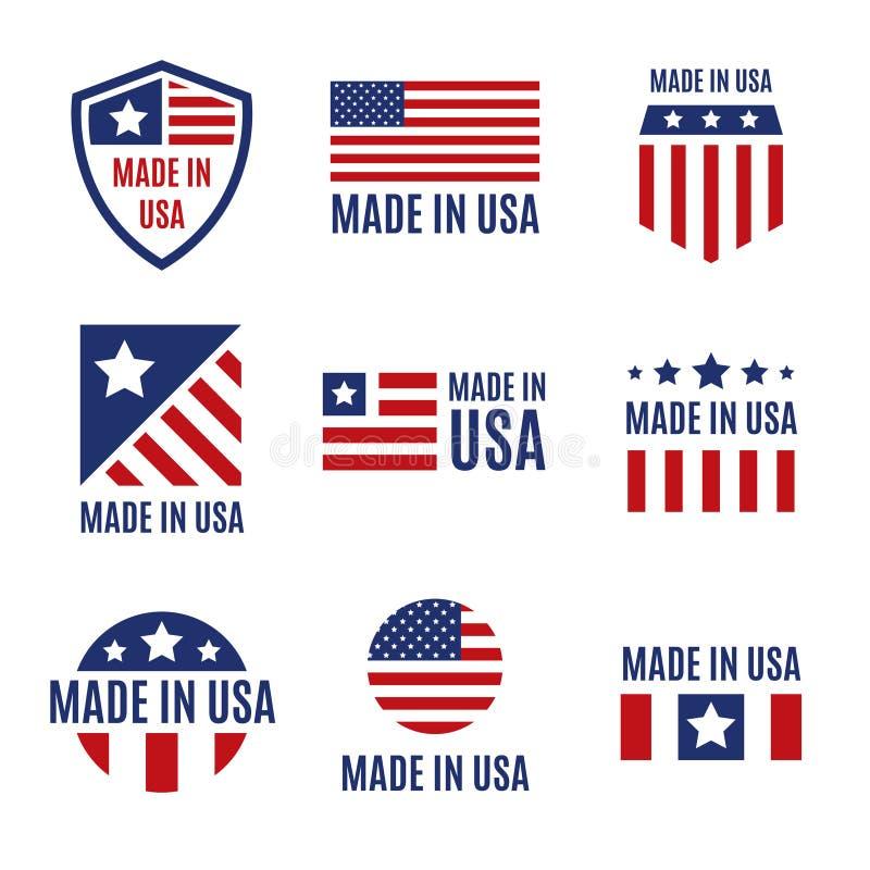 传染媒介套做在美国标签和徽章在白色背景 皇族释放例证