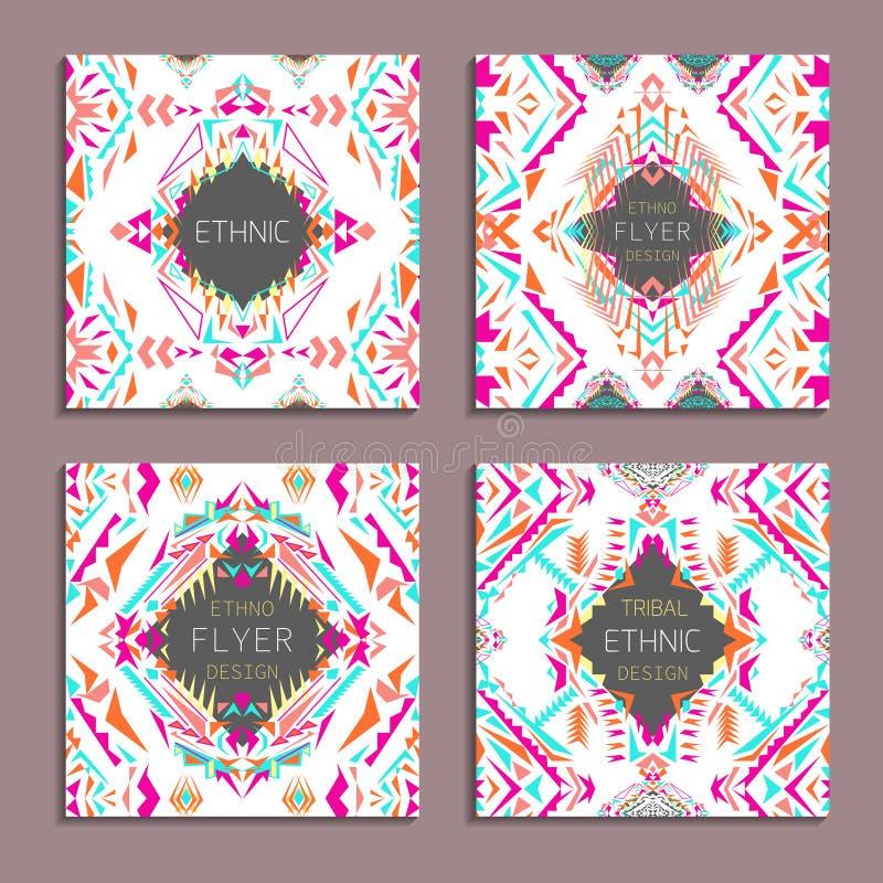 传染媒介套几何五颜六色的背景 事务和邀请的卡片模板 种族,部族,阿兹台克样式 皇族释放例证
